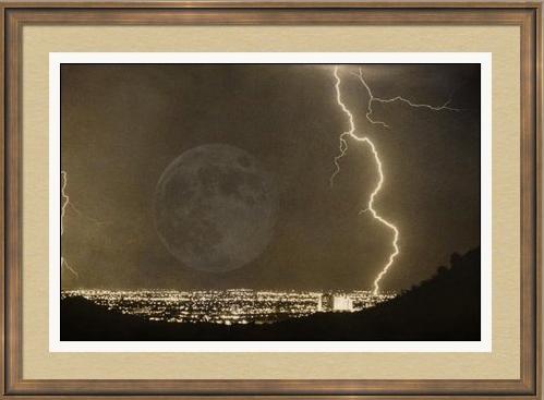 Full Moon Lightning Bolt City Lights Framed Print Full Moon City Lights and Lightning bolt Into The Night