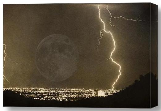 Full Moon Lightning Bolt City Lights Stretched Canvas Art Print Full Moon City Lights and Lightning bolt Into The Night