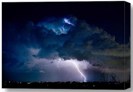 Clouds of Light Lightning Striking Boulder County Colorado Canvas Fine Art  Print