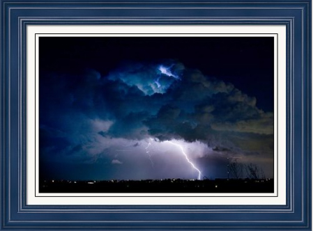 Clouds of Light Lightning Striking Boulder County Colorado Framed Fine Art Print