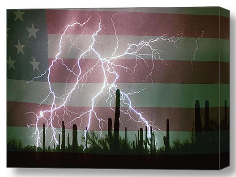 Lightning Storm in the USA Desert Flag Background Canvas Art