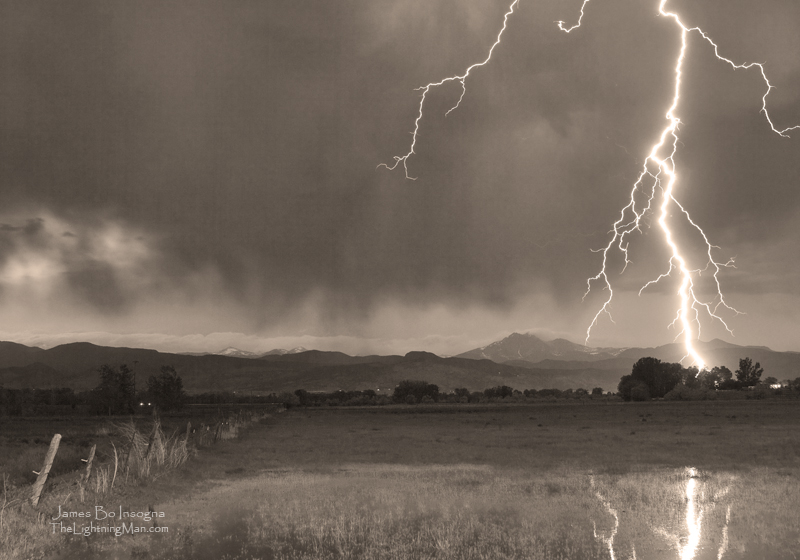 Lightning Striking Longs Peak Foothills 5aBWsepia800s Lightning Striking Longs Peak Foothills 5BW Sepia