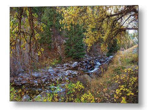 Boulder Creek Autumn View Metal Art Print