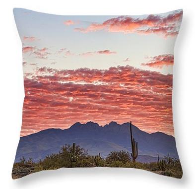 Arizona Four Peaks Mountain Colorful View Throw Pillow 18 x 18