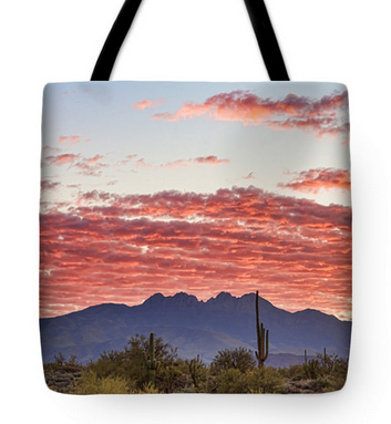 Arizona Four Peaks Mountain Colorful View Tote Bag 18 x 18