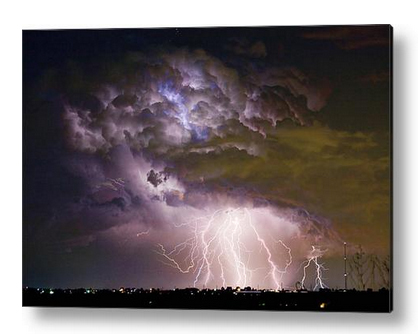 """""""Highway 52 Storm Cell - Two and half Minutes Lightning Strikes"""" acrylic print by James BO Insogna. Ships within 3 - 4 business days and arrives ready-to-hang with all mounting hardware included. Choose from multiple sizes and two different mounting options (metal posts / hanging wire). The image is the art - it doesn't get any cleaner than that! All acrylic prints ship within 3 - 4 business days and arrive """"ready to hang"""" with four aluminum mounting posts (Option #1) or hanging wire (Option #2). The high gloss of the acrylic sheet complements the rich colors of any image to produce stunning results. There are two different ways to mount your acrylic print. Option #1 (Mounting Posts) - Attach your print to your wall with four aluminum mounting posts. The cylindrical cap of each mounting post can be removed, allowing you to thread a small screw along the center axis of the of post and into the wall. When you're finished, simply reattached each cap, and you're done. The mounting posts act as stand-offs and keep your print separated from the wall by 1"""". All of the required mounting hardware (i.e. posts, screws, and wall anchors) is included with your print. Click here for mounting details. Option #2 (Hanging Wire) - With this option, your acrylic print is attached to a 1/4"""" thick black board which has a wooden frame and hanging wire attached to the back. There are no metal mounting posts at the corners. Simply put a nail in your wall, hang your print from the hanging wire, and you're done. Due to the thickness of the black board and mounting frame, your print is separated from the wall by 1.50"""" Click here for mounting details."""