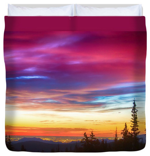 City Lights Sunrise View From Rollins Pass King Duvet Cover