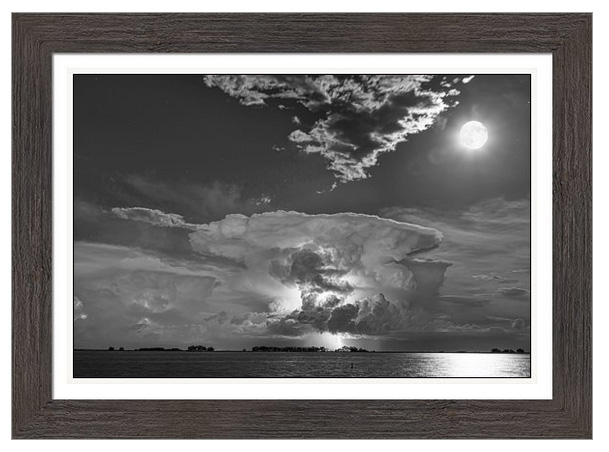 Mushroom Thunderstorm Cell Explosion And Full Moon Bw Framed Pri