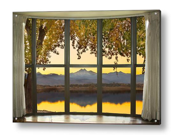 Rocky Mountain Golden Reflections Bay Window View Acrylic Print