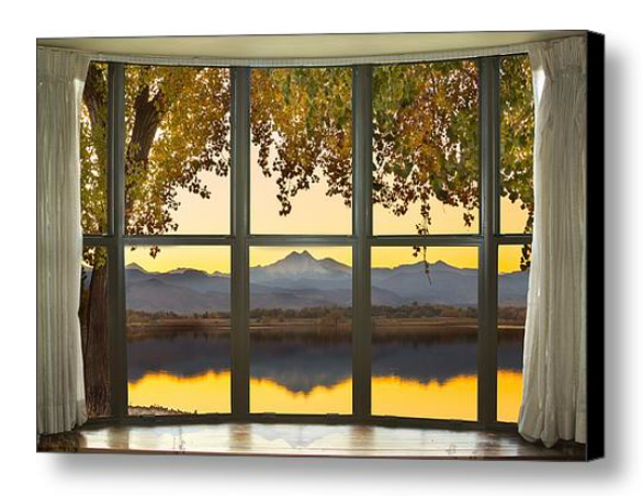 Rocky Mountain Golden Reflections Bay Window View Canvas Print