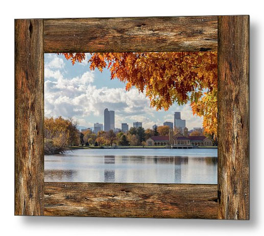 Denver City Skyline Barn Window View Metal Print